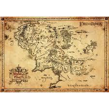 map of the lord of the rings lord of the rings parchment map 47 x 67cm my box