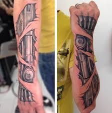 biomechanical arm tattoo drawings 50 mechanic tattoos for men