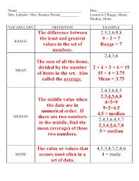 lesson 6 2 range mean median mode