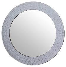 Modern Contemporary Bathroom Mirrors by Modern Round Circular Bathroom Wall Mirror With Mosaic Glass
