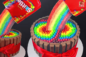 how to make a skittles rainbow cake how does she