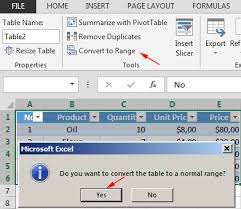convert the table to a normal range 35 formatting data as table in excel