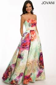 white floral print pleated prom dresses by jovani long dresses