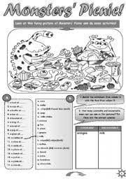 monsters picnic fun activity set for upper elementary and pre