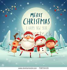 merry happy companions santa stock vector
