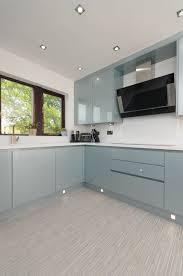 light blue kitchen cupboard doors the doors are a handleless verve door from m j designs in