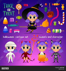 candy corn witch halloween costume vector set of characters and sweets for halloween in cartoon style