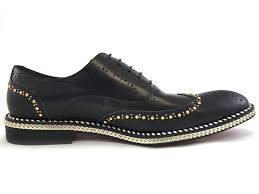 fiesso men black gold studd chain wingtip red bottom lace up