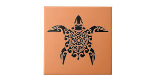 pacific island design tattoo style turtle tile zazzle com