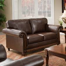 Brown Leather Loveseat Simmons Pinto Tobacco Leather Loveseat Hayneedle
