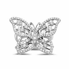 butterfly rings diamond images 0 75 carat diamond butterfly design ring in white gold baunat jpg