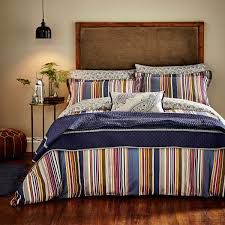 luxury striped bedding ila navy sateen bed linen at bedeck 1951