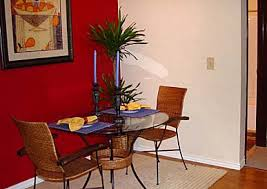 Red Walls In Kitchen - red accent wall for a small dining space