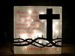 Religious Lighted Glass Block Lamp Christian Cross Decor Crown of