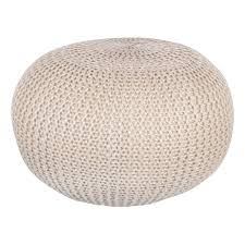 natural 60cm chunky knit round pouffe foot stool knitted crochet