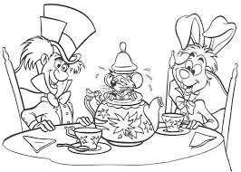 white rabbit and mad hatter and teapot fill with mouse coloring