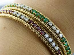 diamond emerald bracelet images Emerald diamond ruby diamond bracelets set of 2 andrew jpg