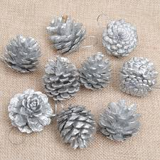 1lot 18pc wooden silver pine cone decorations