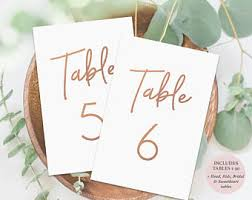 Wedding Table Cards Copper Table Numbers Etsy