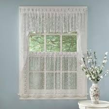 elegant white priscilla lace kitchen curtain pieces tiers swag