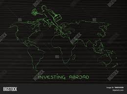 Continents On Map Business Man Jumpying Across Continents On Map Of The World Stock