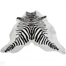Cowhide Leather Rug Zebra Stencil Pure Brazilian Hair On Full Cowhide Leather Rug