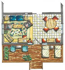Color Floor Plan Floor Plan Rendering Drawing Hand