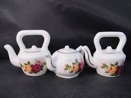 vintage cottage pattern two kettles one teapot bone china