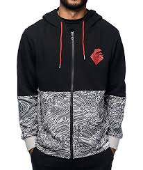 counter genuine hoodie cheep riptide script zip up black dolphin