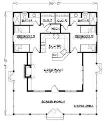 narrow cottage plans floor plan cottage floor with home split one bedroom narrow