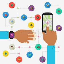 life bracelet app images Wearable technology concept map and traveling app stock vector jpg