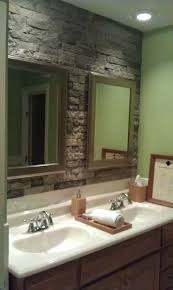 stone bathroom decor ideas accent wall wooden vanity wall sconces