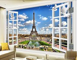 3d home decor beaustile white brick mosaic 3d wall sticker home classic home decor 3d windows window landscape paris tower tv wall mural 3d wallpaper 3d wall