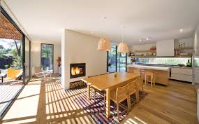 open plan living dining and kitchen areas in this beachside