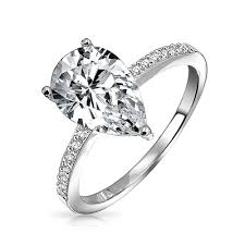 teardrop diamond ring pear shaped 2 25 carat cz solitaire engagement ring 925 silver