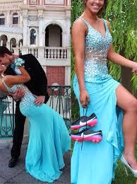Light Blue Mermaid Dress Light Blue Crystal V Neck Prom Dress Mermaid Zipper Chiffon Long