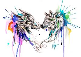 color designs dragon and wolf color splash design by lucky978 on deviantart