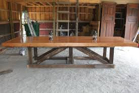long and large easy diy trestle farmhouse dining table with solid