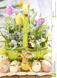 Easter Egg Basket Decorations by Easter Basket With Eggs Flowers And Easter Bunny Stock