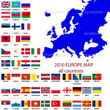 European Countries Flag Europe Countries Flagseditable Map Of Europe Stock Photo Laschon