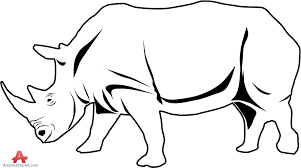 rhinoceros outline drawing in black and white free clipart