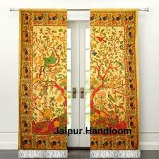 Yellow Window Curtains Yellow Tree Of Life Door Curtains Indian Cotton Window Curtains Pelmet