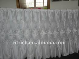 fascinating white colour satin table cloth table skirt