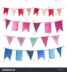 Wedding Flag Watercolor Vintage Flags Garlands Set Vector Stock Vektorgrafik