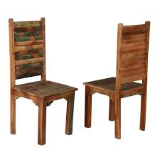Reclaimed Wood Chairs Distressed Reclaimed Wood Multi Color Dining Chairs Set Of 2