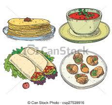 cuisine clipart popular food international restaurant or cafe vector