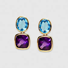 amethyst drop earrings blue topaz and amethyst drop earrings set in yellow gold gee