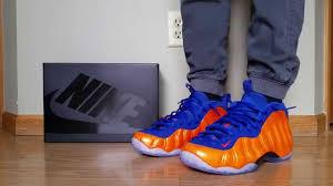 nike air foamposite one ny knicks orange crimson blue on feet