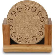 wooden drink coaster thirstystone ambiance upright bamboo holder for square or round