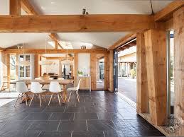 interior to exterior courtyard design in douglas fir timber framed